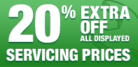 25% extra off all displayed servicing prices