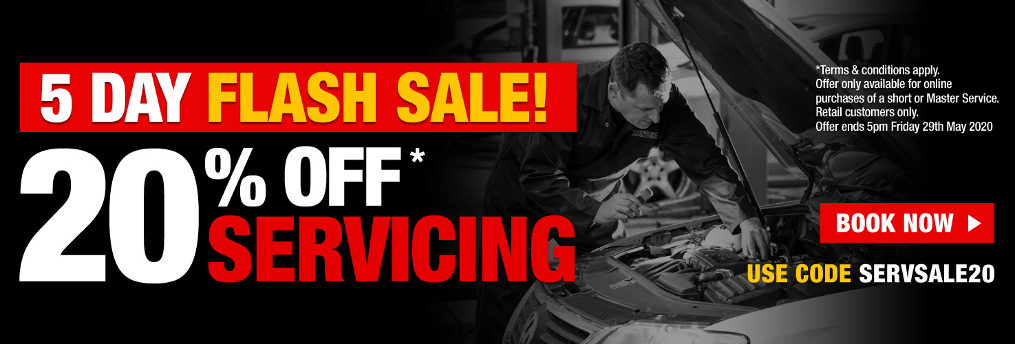 5 Day Flash Sale - 20% off Servicing