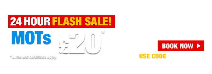 24 Hour Flash Sale, MOTs only £20 today
