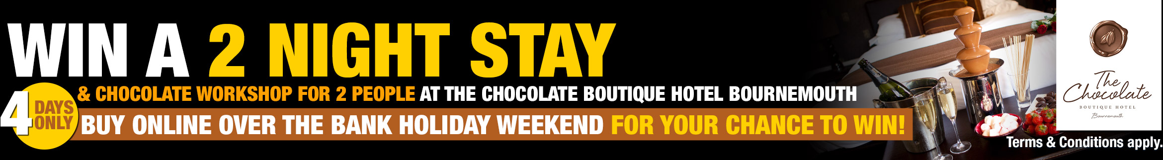 Win a 2 night stay & chocolate workshop for 2 people at the Chocolate Boutique Hotel, Bournemouth